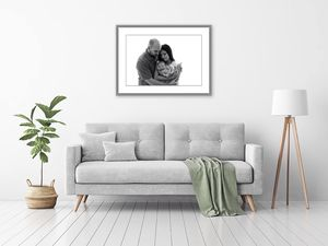 grey sofa with grey frame on top- family image