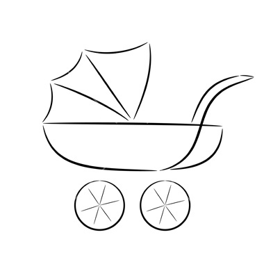 Cartoon silhouette of a pram - must have baby products