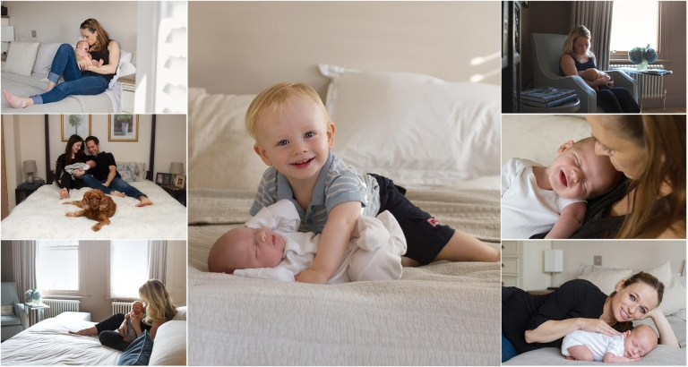 newborn photos at home - photos on the big bed with family members