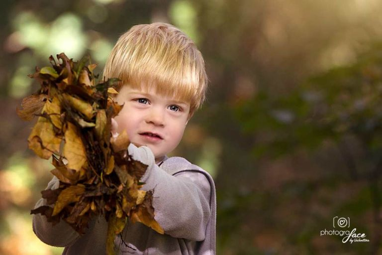 boy with autumn leaves in his hands